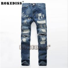 Men's fashion pocket hole ripped jeans Casual patchwork slim straight dark blue denim pants Long trousers B88 #Affiliate