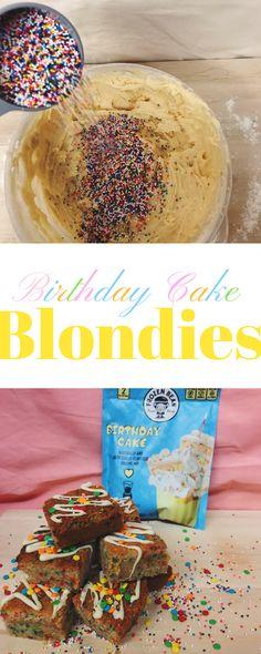 #birthdaycake blondies recipe! Make it in under 30 minutes. #desserts #baking