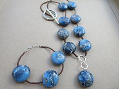 Hey, I found this really awesome Etsy listing at https://www.etsy.com/listing/201597561/jasper-necklace-and-bracelet-set-blue