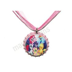 bottle cap jewelry | LITTLE PONY inspired Pink Bottle Cap Pendant Ribbon Necklace