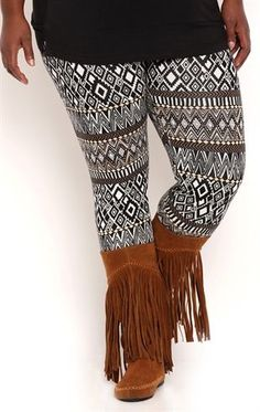 Deb Shops Plus Size Aztec Print Leggings with Pops of Color $10.00
