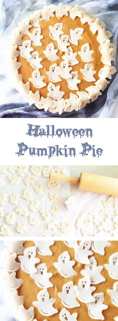 Make this Halloween Pumpkin Pie for your Halloween gathering! Just use pie cutters or small cookie cutters to decorate. Halloween Tags, Happy Halloween, Halloween Baking, Halloween Party Supplies, Halloween Desserts, Halloween Food For Party, Holidays Halloween, Scary Halloween, Halloween Pumpkins