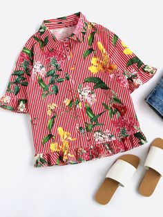 Online shopping for Mixed Print Frill Trim Blouse from a great selection of women's fashion clothing & more at MakeMeChic.COM.