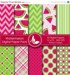 40% off - Watermelon Paper Pack - 10 Printable Digital Scrapbooking papers - 12 x12 - 300 DPI