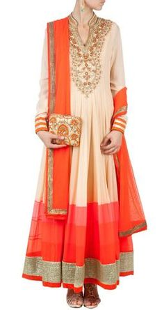 Featuring a beige #anarkalisuit embellished with aari, zari and beads.