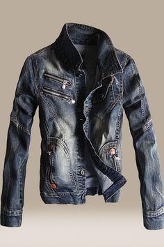 Men's Slim Fit Denim Coat Outwear Stand Collar Casual Jacket Fashion New Denim Biker Jacket, Denim Shirt Men, Denim Coat, Denim Jackets, Parka, Streetwear Jeans, Mens Overcoat, Denim Outfit, Vintage Denim