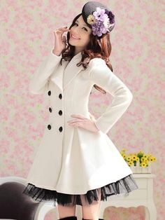Glamorous White Wool Yarn Double-breasted Overcoat