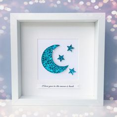 Baby boy nursery picture, I love you to the moon and back, nursery decor, new baby boy gift, christening gift, nursery wall art