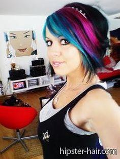 blue black short bob pink hair