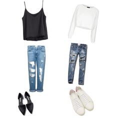 Boyfriend Jeans by birdiesmind on Polyvore featuring polyvore fashion style Topshop H&M Frame Denim Abercrombie & Fitch Yves Saint Laurent Zara