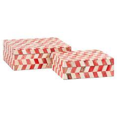 2-Piece Lavinia Bone Trinket Box Set in Melon Sorbet
