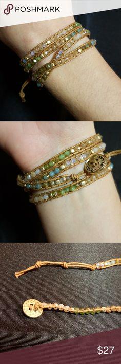 "Pop of Posh - Premier Designs Wrap bracelet, 29""/30"" wrap with 2 different lengths for button closure. Includes beautiful green, tans, purples, and blues! Premier Designs Jewelry Bracelets"