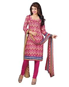 #Sparkling #Pink #Colored Printed #Dress Material