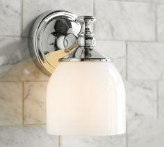 "Mercer Single Sconce | Pottery Barn- Gitrl's Bath sconces (in single or double) - 5.5"" wide x 6"" deep x 8/5"" high- $79 each in chrome"