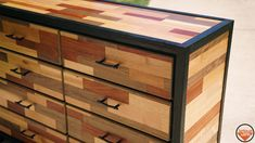 I cut apart a bunch of sheets of plywood and glued them back together to create this Patchwork Pattern Dresser (contrasted with burnt reclaimed oak) : DIY