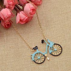 Amazon.com: Bicycle Pendant Necklace Blue Enamel Bike Pendant Alloy Necklace Golden Gift 1 Pc: Jewelry