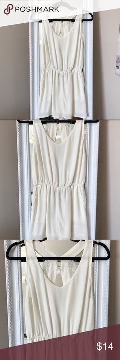 H&M Ivory Lace Romper H&M Ivory Romper. Open back with lace detailing. Like new. H&M Pants Jumpsuits & Rompers