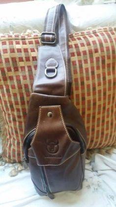 1ac97a2d6d BULLCAPTAIN Bullcaptain Men Genuine Leather Business Casual Chest Bags  Shoulder Crossbody Bag is hot-sale