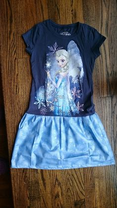 "Blue Snowflake Frozen Elsa ""Snow Queen"" T-shirt Party Dress Size 7/8"