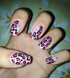 Leopard printed nails with rhinestones, natural nails, animal pattern