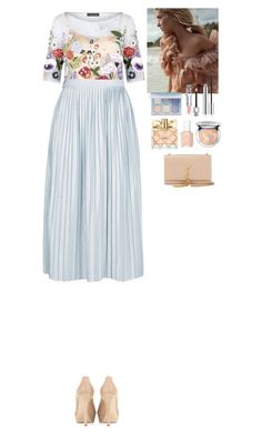 """Lovely outfit"" by eliza-redkina ❤ liked on Polyvore featuring Jenny Packham, Topshop, Jimmy Choo, Anastasia Beverly Hills, Christian Dior, Guerlain, Essie, Avon and Yves Saint Laurent"