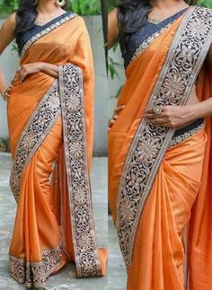Orange Embroidery Lace Border Silk Georgette Party Wear Wedding Sarees www. Saree Blouse Patterns, Saree Blouse Designs, Dress Designs, Fancy Sarees, Party Wear Sarees, Indian Dresses, Indian Outfits, Indian Attire, Indian Clothes