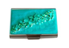 Large Metal Card Case Recycled Glass Metal Wallet by colorsbyliza, $54.00