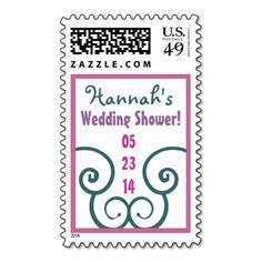 CUSTOM NAME Wedding Shower Stamp TEAL PINK PURPLE