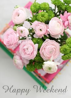 Pink Ranunculus~ Mary Wald's Place -  Happy Weekend