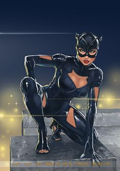 Hot Cat on Roof - Catwoman by Frans Mensink