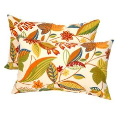 Greendale Home Fashions Rectangle Indoor/Outdoor Accent Pillows, Esprit Multi, Set of 2