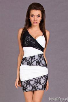 Elegancka sukienka... #Sukienki - http://bmsklep.pl/progress-sukienka--czarny-bialy-5625-1