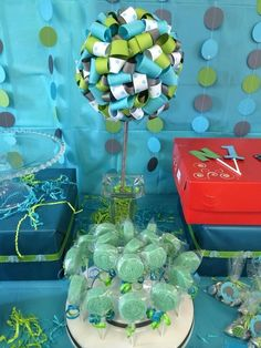 Ribbon topiary at a Blue and green 1st birthday party!  See more party ideas at CatchMyParty.com!  #partyideas #1stbirthday
