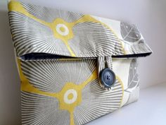Gray and Yellow Bridesmaid Bag   Amy Butler Optic by BagsByLora, $14.99