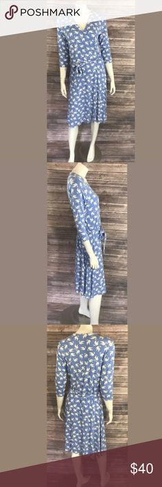 Soft Surroundings Bird Dress Size Large Blue White Soft Surroundings Womens Dress Size Large Blue White Faux Wrap Paradise Birds. Measurements: (in inches) Underarm to underarm: 18 Length: 42 Waist: 30  Good, gently used condition Soft Surroundings Dresses