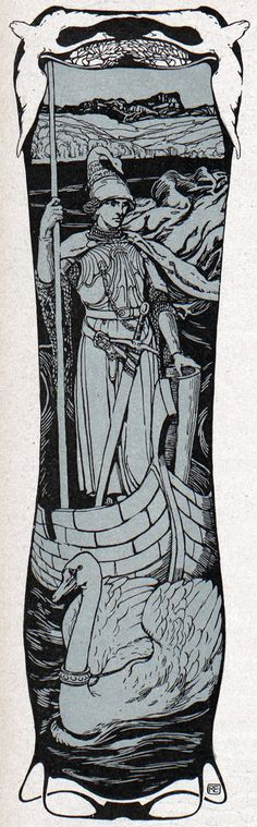 'Lohengrin' by Robert Engels for 'Jugend' magazine nr. 28, 1902.  Description: Lohengrin is a character in German Arthurian literature. The son of Parzival (Percival), he is a knight of the Holy Grail sent in a boat pulled by swans to rescue a maiden who can never ask his identity.