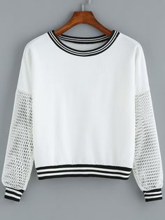 To find out about the White Round Neck Grid Sleeve Crop Sweatshirt at SHEIN, part of our latest Sweatshirts ready to shop online today! Teen Fashion, Fashion Outfits, Womens Fashion, Sport Fashion, Mode Top, Mode Hijab, Mode Style, Cute Shirts, Cute Tops