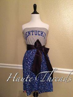 Kentucky Wildcats Gameday Game Day Football Blue Peacock Tube Strapless T-Shirt Dress with Black Sash Bow - Medium 6 8  - SEC Football