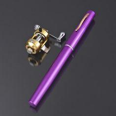 Mini Pocket Pen Fishing Rod Pole Gold Reel kit camping Portable #eozy