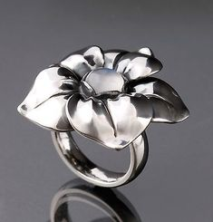 Georg Jensen Sterling Silver Flower Ring # 562A with Blue Moonstone. NEW. - http://designerjewelrygalleria.com/georg-jensen/georg-jensen-sterling-silver-flower-ring-562a-with-blue-moonstone-new/