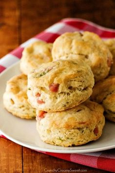 Ham and Cheese Biscuits with Basil