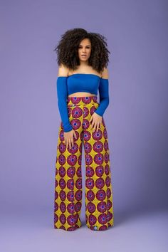 Feel awesome wearing Grass-fields African print pants, made from brilliant African fabric sourced from Cameroon. African Print Pants, African Print Dresses, African Print Fashion, African Wear, African Women, African Dress, Fashion Prints, African Clothes, African Style