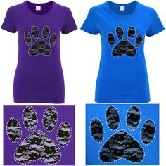 20$ Purple Lace & Studs Paw Print Tee at The Animal Rescue Site