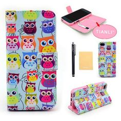 TIANLI(TM) PU Leather Cute Owl Design Wallet Flip Cover Case CoverFor Apple iPhone 5 5S,With Credit Cards Slots,Screen Protector,Stylus and Cleaning Cloth YX ii Iphone 5 6, Apple Iphone 5, Cute Owl, Stylus, 6 Case, Credit Cards, Screen Protector, Pu Leather, Cell Phone Accessories