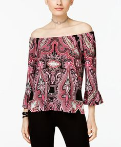 29.02$  Watch now - http://vipdo.justgood.pw/vig/item.php?t=2qiyu9z51507 - Petite Printed Off-The-Shoulder Ruffle Top, Only at Macy's 29.02$