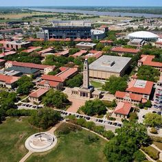 A flying tiger's eye view of the LSU campus.