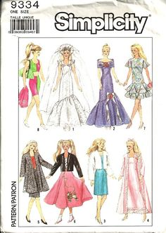 barbie+sewing+patterns | Simplicity 9334 Barbie Doll Clothes Vintage Sewing Pattern Uncut ...