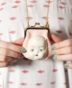 I need this to go with my porcelain doll head cups! Doll Head, Doll Face, Jewelry Accessories, Fashion Accessories, Diy Jewelry, Weird Jewelry, Kawaii, Grunge, Creepy Dolls