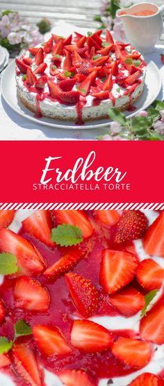 Erdbeer Stracciatella Torte? Das hört sich nicht nur lecker aus, das ist auch echt lecker! Das perfekte Rezept für den Sommer. Fruchtig und leicht.