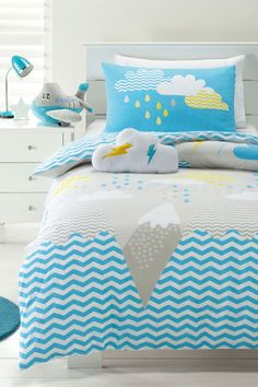 Pop Mountain Blue Grey Geometric Single Cotton Quilt Duvet Cover + Cloud Cushion